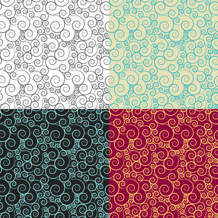 4 seamless pattern from curls, shells, sea pattern