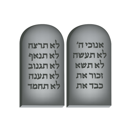 Ten Commandments. Concept of Judaic holiday Shavuot. Happy Shavuot in Jerusalem. Illustration