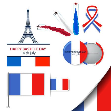 Greeting card design for The Bastille Day fourteen of july or another French holiday. Stylish vector modern illustration and design elements 向量圖像