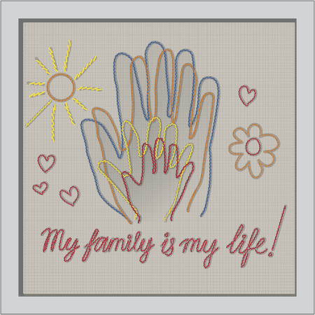 International Day of Families. Concept of a family of 4 people - father, mother, daughter, baby - handprints.
