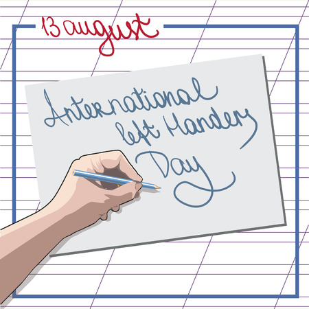 Vector illustration of a Stylish and Colorful text for International Left Handers Day.