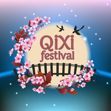 Qixi or Tanabata festival Vector illustration, Celebrates the annual meeting of the cowherd and weaver girl on seventh day of the 7th month,