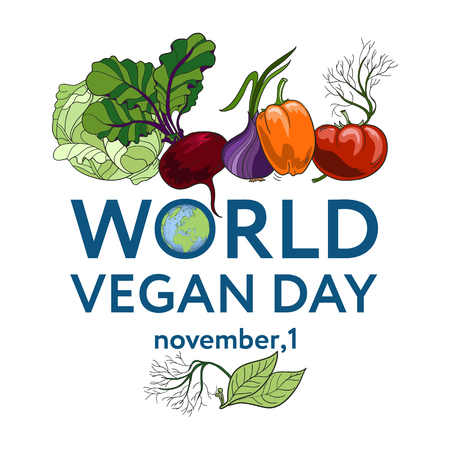 World Vegan Day. Vector illustration a background with vegetables, including tomato, carrot, pepper, onion, dill, beetroot, bay leaf Stock Photo