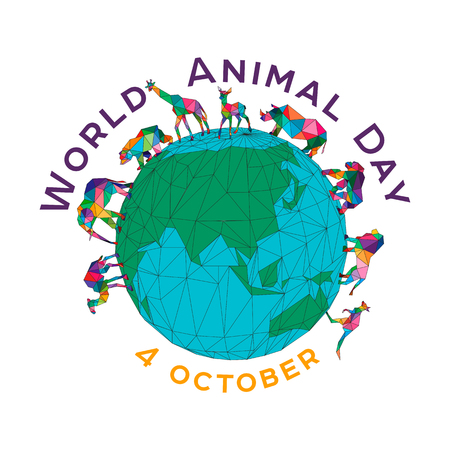 Vector illustration for the World Animal Day on October 4. Polygonal animals on the globe. An elephant, a rhinoceros, a camel, a giraffe, a kangaroo, a roe deer, a gorilla, a bear. Isolated image.