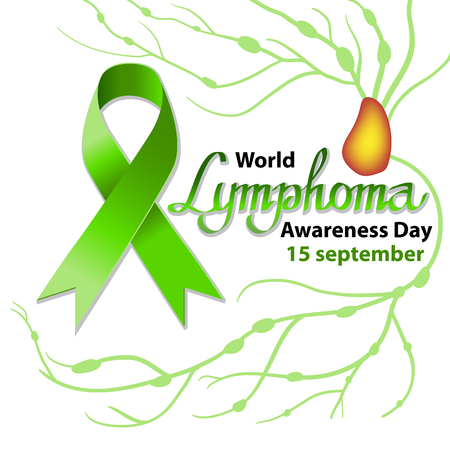 World Lymphoma Day. Increase in the size of the lymph nodes. Vector illustration on isolated background. Green ribbon. 15 september