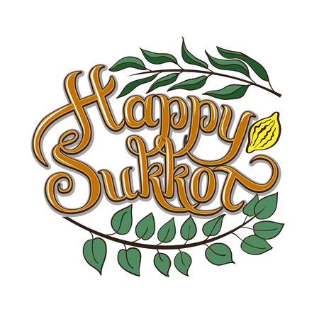 Happy Sukkot hand drawn vector card, border, background, banner, frame with hand lettered sign, palm leaf, citron, myrtle and willow leaves. Isolated image