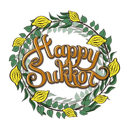 Happy Sukkot Jewish Holiday greeting card. Vektorové ilustrace