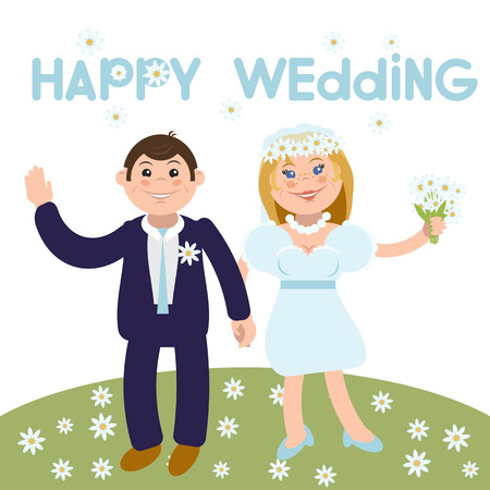 Cartoon flat vector illustration for the wedding invitation and graphic design.chamomile. Isolated on background.