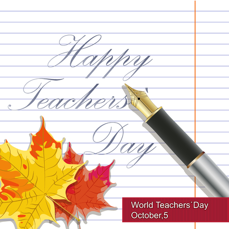 vector hand drawn teachers day lettering greetings label - happy teachers day - with realistic paper pages, pencils and stickers on chalkboard background.