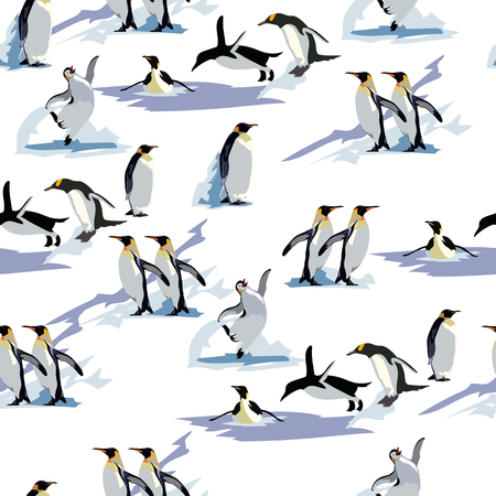 pinguins seamless pattern, winter. vector background. This pattern is suitable for winter clothes, gift cards and New Year s and Christmas packages