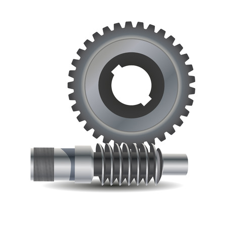 Worm drive. Vector diagram. Protrusion on the gear wheel enter the Worm shaft to form a gearing system. Worm shaft is a Cylindrical part that transfers the rotational movement of one part to another