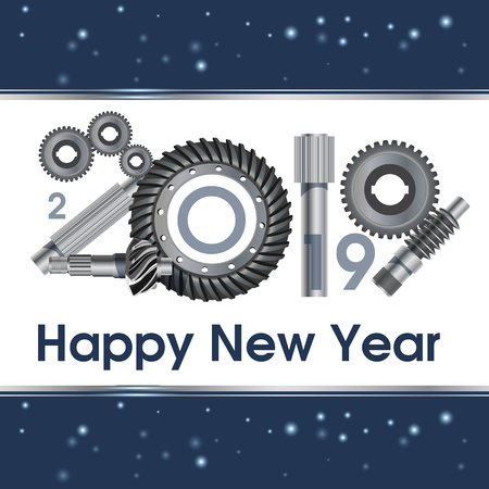 2019 years anniversary industry gear - illustration. New Year's greetings. Poster, banner.worm gear