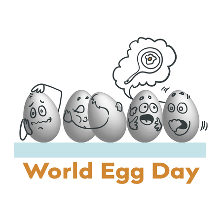 World Egg Day Vector illustration. Suitable for greeting card, poster and banner. humanized eggs with emotions 일러스트