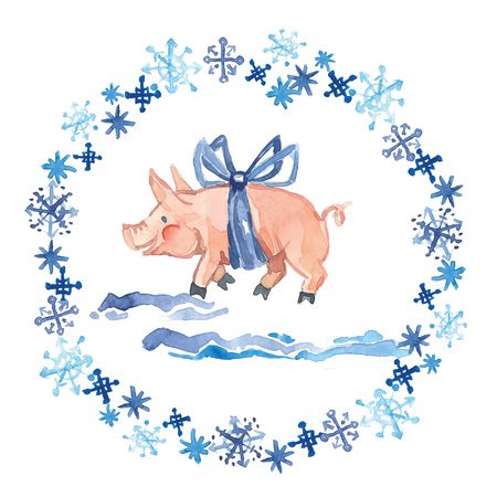 Seamless pattern of a pig, snowflakes, gingerbread, bag and gift.Christmas sketch.Symbol of the new year.Watercolor hand drawn illustration.
