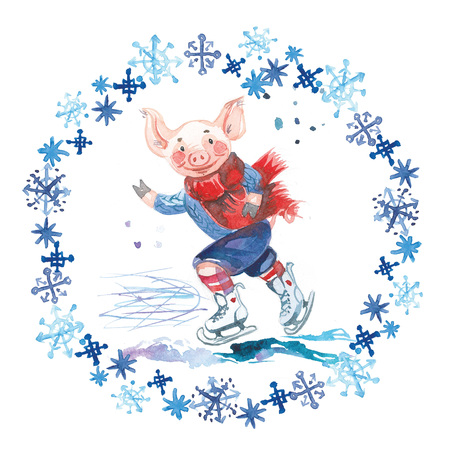 Pig in sweater on skates. 2019 Chinese New Year of the Pig. Christmas greeting card. Watercolor snowflakes round frame.