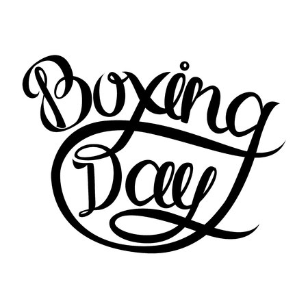 Boxing day postcard. Ink illustration. Modern brush calligraphy. Isolated on white background. Stock Photo