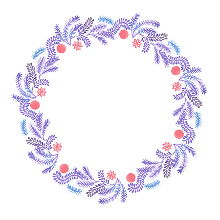 Fancy Christmas wreath with decorative balls, pine tree branches and cones. watercolor hand drawn illustration