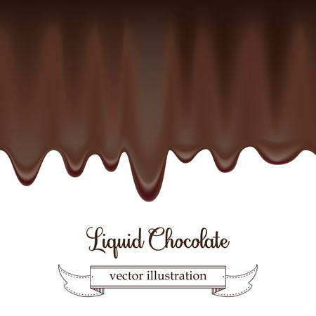 Vector Chocolate syrup drip pattern isolated on a white background Stock fotó