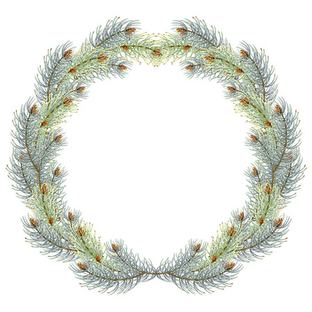 Green christmas pine wreath. blue spruce christmas wreath. vector illustration 免版税图像 - 111483773