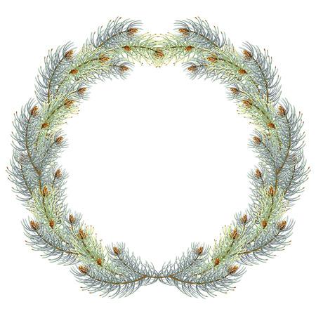 Green christmas pine wreath. blue spruce christmas wreath. vector illustration