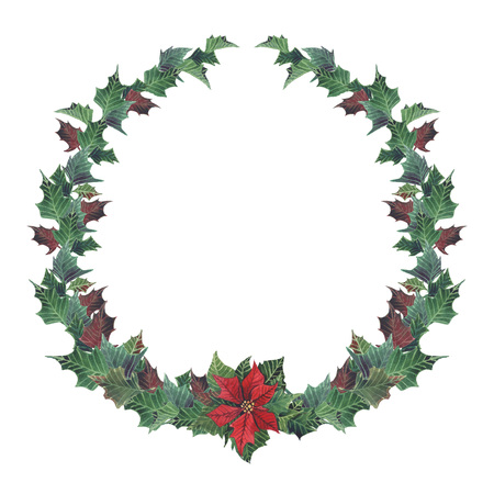 Watercolor Christmas floral wreath with poinsettia. Hand painted snowberry and fir branches, red berries with leaves, pine cone isolated on white background. Christmas illustration for design Banco de Imagens