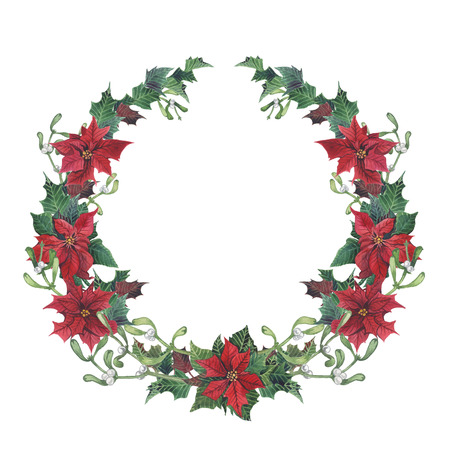 Watercolor christmas wreath with holly, mistletoe and poinsettia. Hand painted christmas floral border isolated on white background. Botanical illustration for design Banco de Imagens
