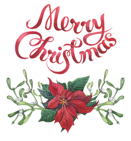 Watercolor christmas floral print with Merry Christmas lettering. New year tree branch with poinsettia, mistletoe, holly and cones for design, print or background