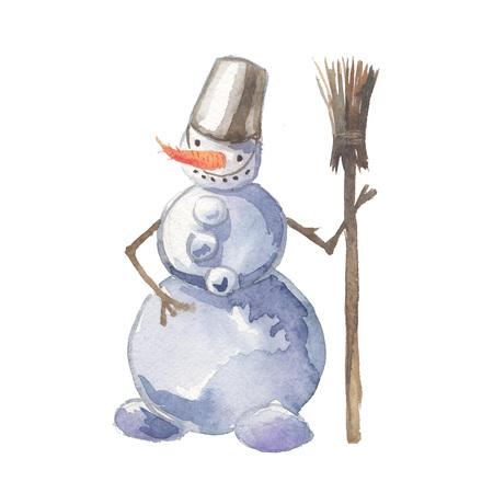 Watercolor snowman. Christmas illustration for design, print