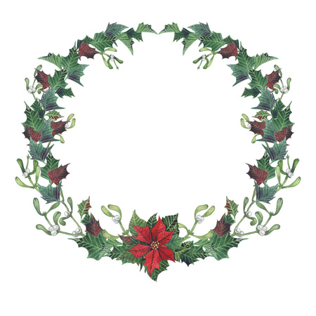 Christmas and New Year collection. Bright wreath with leaves,mistletoe branches,fir-tree,poinsettia.Handpainted watercolor illustration,perfect for Christmas invitations.