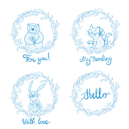 Watercolor cute portrait of a raccoon in a scarf, winter print, childrens illustration. round simple wreath rabbit, bear, cat, lettering. Silky prints for clothes, cards, invitations, t-shirts