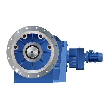 Conical Gear Reducer, Multicolored Vector Icon Illustration, 3d Illustration