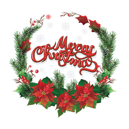 Christmas wreath of red poinsettia and leaves. vector illustration Stock Photo