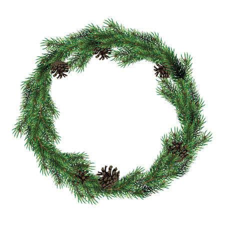 Christmas wreath of fir branches with cones. Green spruce christmas wreath. Banco de Imagens