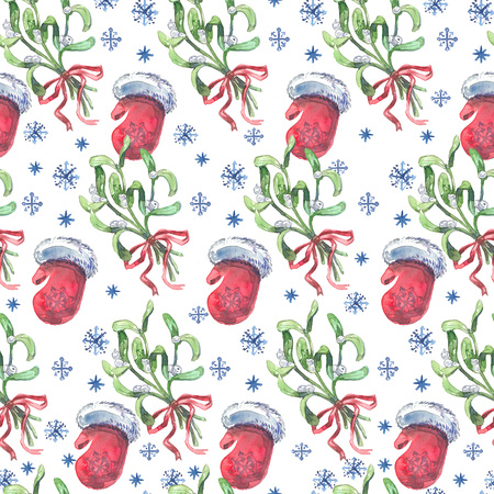 Watercolor Christmas seamless pattern with mistletoe, red mittens and snowflakes.