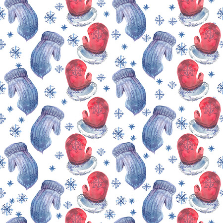 Watercolor Christmas seamless pattern with blue and red mittens and snowflakes.