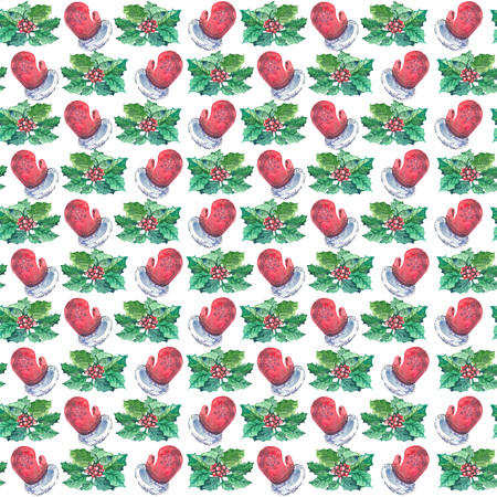 Watercolor Christmas seamless pattern with red mittens, berries and holly branches.