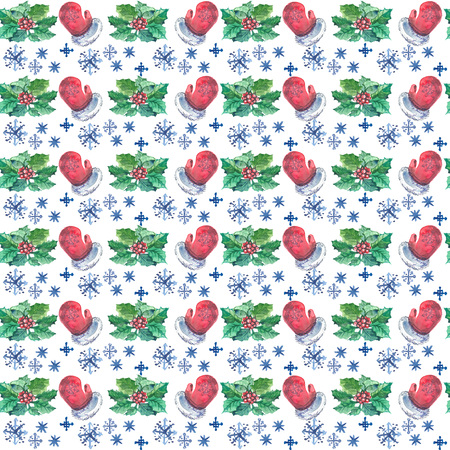 Watercolor Christmas seamless pattern with red mittens, berries, holly branches and snowflakes.