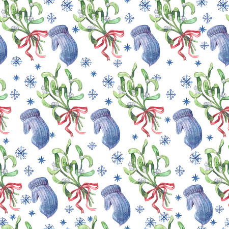 Watercolor Christmas seamless pattern with mistletoe, blue mittens and snowflakes.