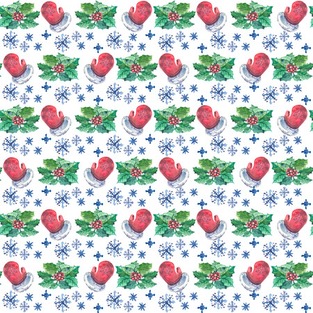 Watercolor Christmas seamless pattern with red mittens, berries and branches of holly and snowflakes. In staggered order. Stockfoto - 124872529