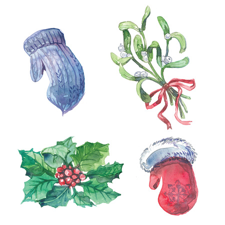 Watercolor christmas pictures. Red mitten, blue mitten, holly and mistletoe.