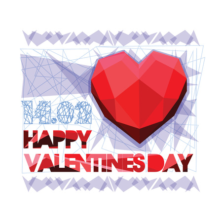 Happy Valentine s Day. Valentine and love by paper cut and polygonal heart on gray background. Overlapping heart shapes. Luxury and modern design.