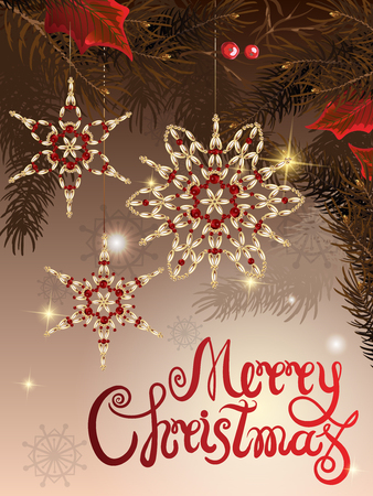 Vector illustration of greeting banner template with hand lettering label - merry Christmas - with beads, baubles, snowflakes, and doodle spruce branches. Illustration