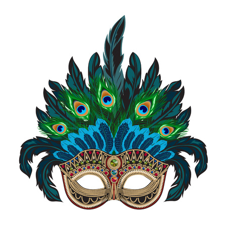 Vector blue ornate mask with colorful feathers