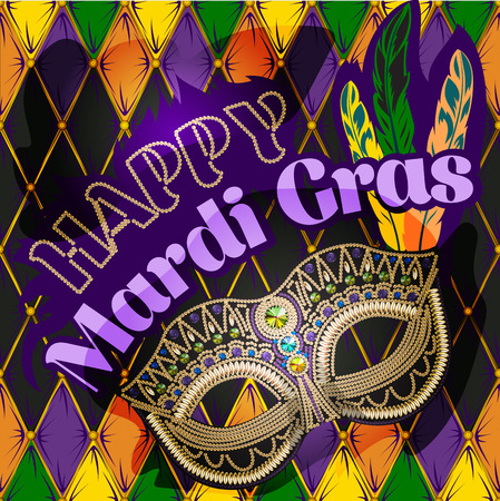 Mardi Gras mask, colorful poster, template, flyer. Vector illustration beads rhinoceroses