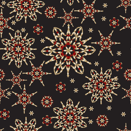Seamless vector pattern. Christmas background with stars, beads, golden snowflakes, and gold on a black background.