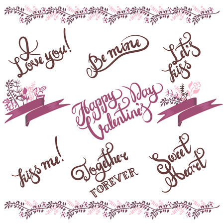 Valentine s day hand drawn calligraphy and illustration vector set 向量圖像
