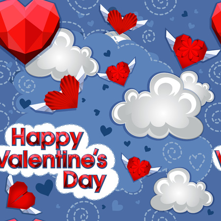 Abstract polygonal heart with black arrows, seamless origami pattern. Happy valentine s day. Illustration isolated on white background.