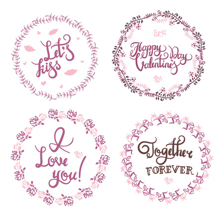Handwritten Valentine s day greetings set. Custom texts painted with dry paint brush. Flourish frame and different styles of heart shapes. Ready phrases for your design.