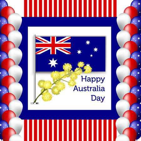 Happy Australia Day poster. festive wreath with flowers and acacia leaves Illustration