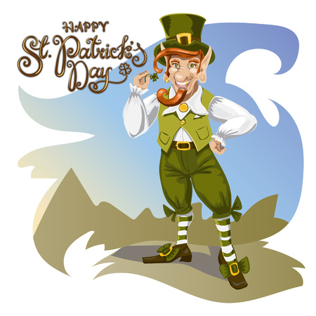 Happy Saint Patrick s Day. Character with green hat. Cartoon funny leprechaun with clover. Lettering. Vector illustration